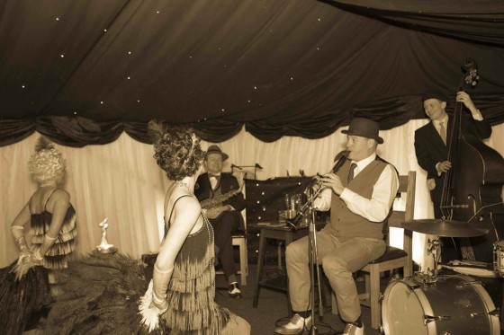 The Jazz Spivs and Silk Street Flappers working together at 1920s themed wedding parties